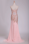 New Arrival Beaded Bodice  Chiffon With Slit Sheath Sweep Train Prom Dresses