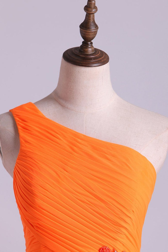 One Shouder Column Evening Dresses Chiffon With Beads With Ruffles