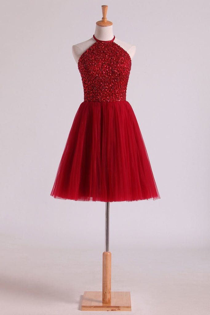 Halter Homecoming Dresses A-Line Tulle Short/Mini Beaded Bodice Burgundy/Maroon