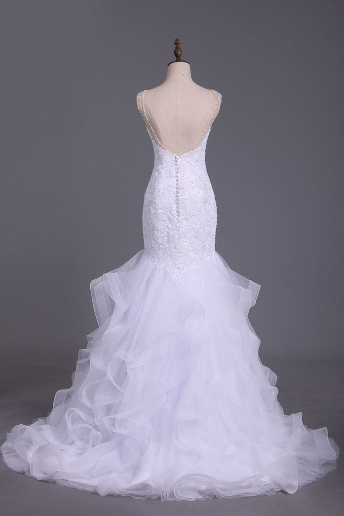 V Neck Tulle With Applique And Beads Court Train Wedding