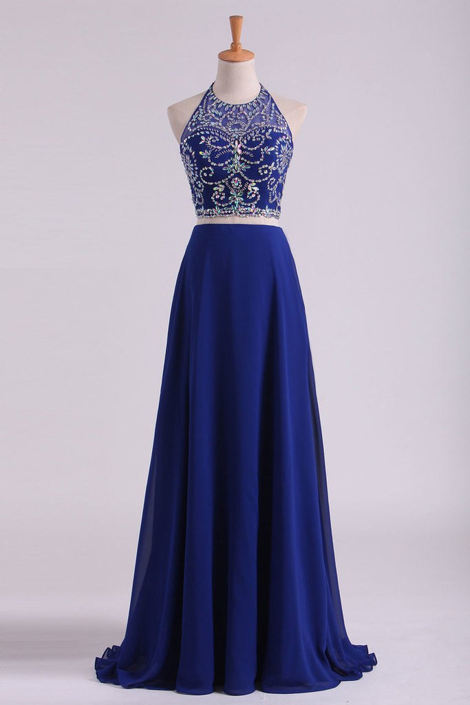 Bateau Two Pieces Prom Dresses Dark Royal Blue A Line Beaded Bodice Open Back Floor Length Chiffon & Tulle