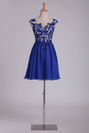 A Line Homecoming Dresses Scoop Open Back Short/Mini Chiffon With Applique