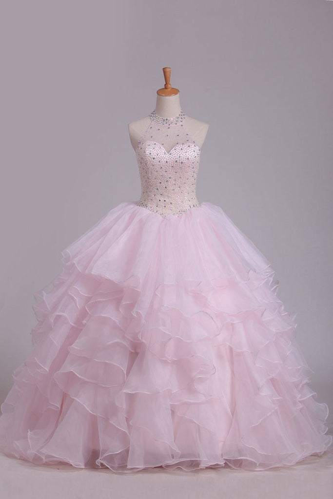 Halter Ball Gown Beaded Bodice Open Back Quinceanera Dresses Organza Floor Length