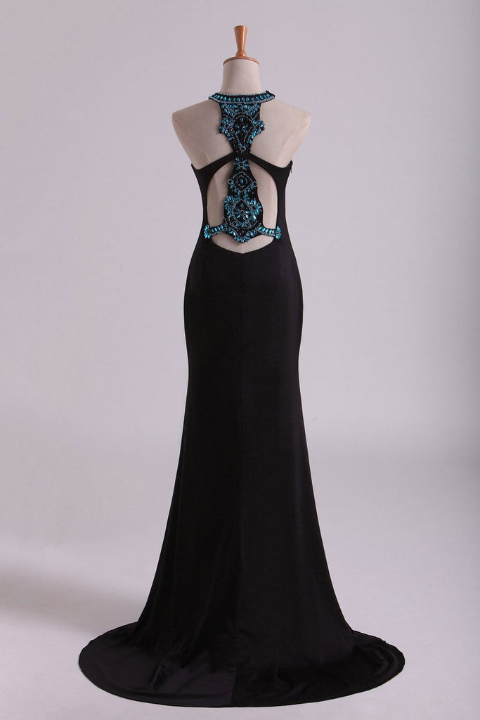 Black Scoop Column Prom Dresses Chiffon With Rhinestones & Beads Sweep Train