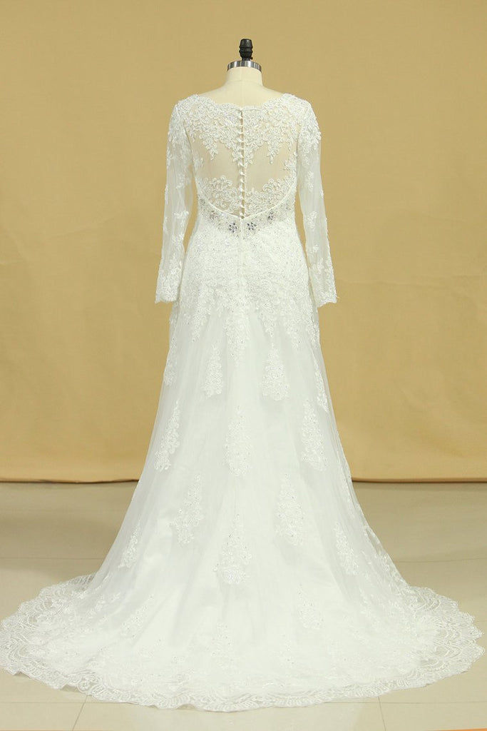 Plus Size V-Neck Long Sleeves Wedding Dresses With Applique Tulle