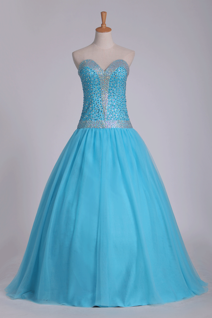Tulle Floor Length Sweetheart Beaded Bodice Prom Gown A