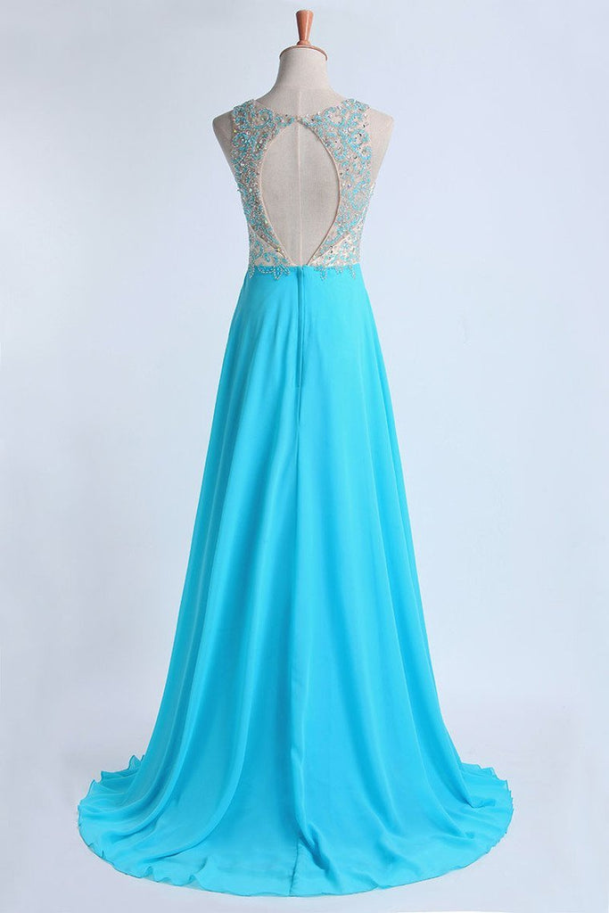 Prom Dresses A Line Scoop Sweep/Brush Chiffon