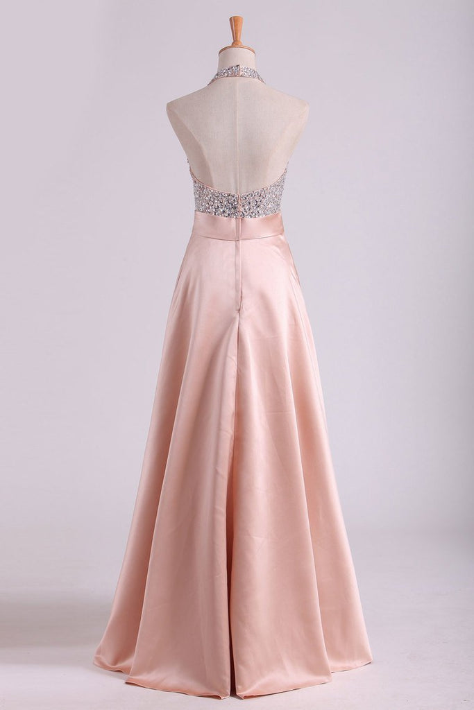 Open Back Halter Prom Dresses Beaded Bodice Satin Floor-Length