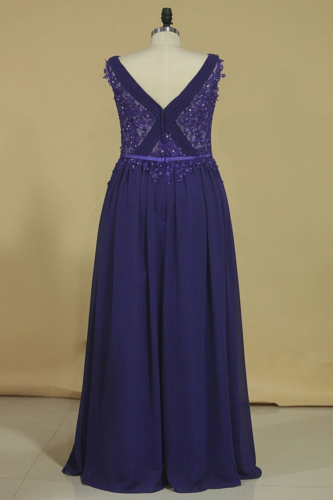 A Line V Neck With Applique And Beads Evening Dresses