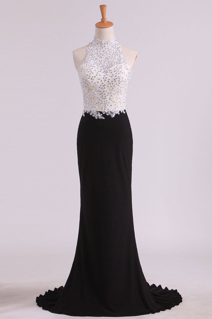 Bicolor Prom Dresses High Neck Sheath With Applique & Beads Sweep/Brush Train