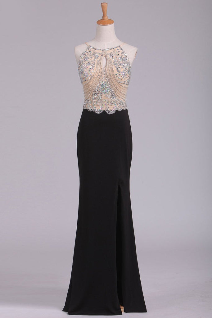 Spaghetti Straps Beaded Bodice Prom Dresses Sheath