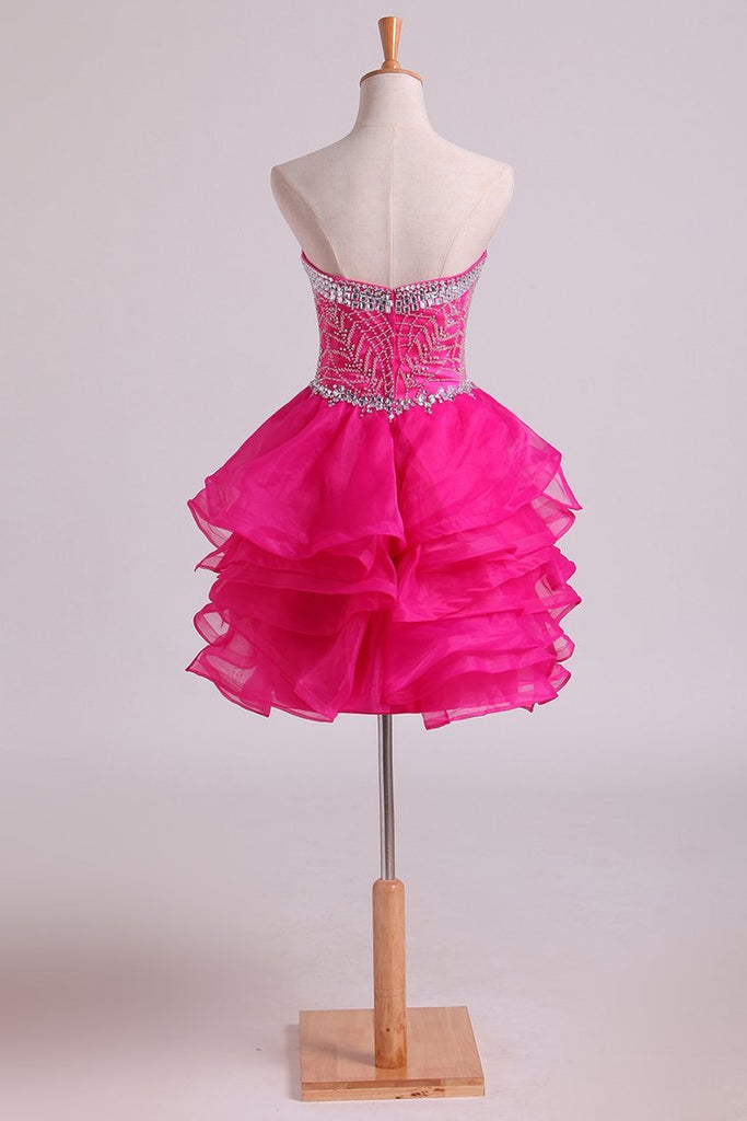 Homecoming Dresses Sweetheart A Line Organza With Beading Short/Mini