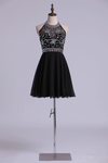 Open Back Halter Short Prom Dress Beaded Bodice A Line Pick Up Chiffon Dress