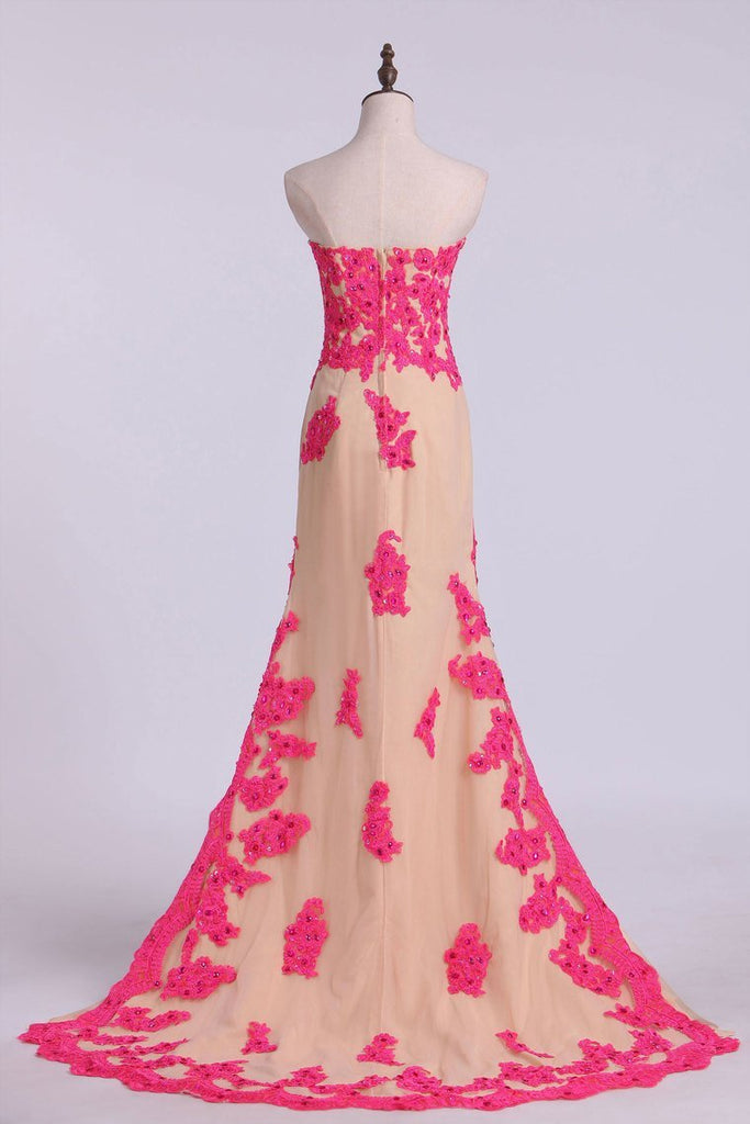 Asymmetrical Prom Dresses Sheath Sweetheart With Applique