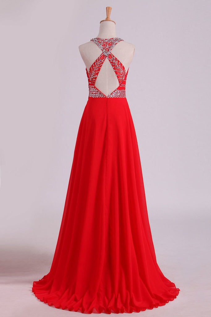 Halter A-Line/Princess Prom Dresses Tulle & Chiffon Sweep Train