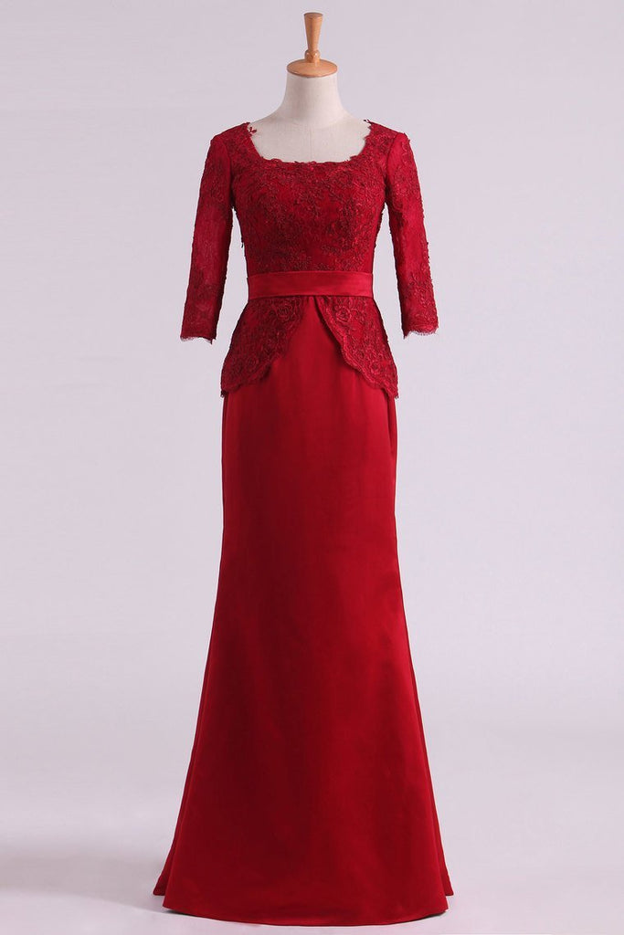 Burgundy Mother Of The Bride Dresses Square 3/4 Length Sleeve With Applique Satin