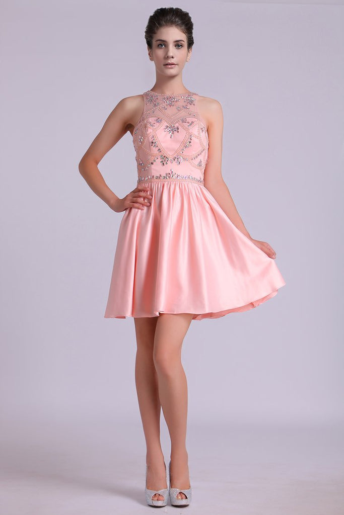 Scoop A Line Homecoming Dresses Satin