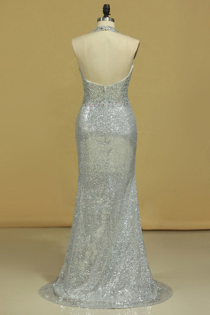 Prom Dresses Halter Sequines With Beading Open Back Sheath