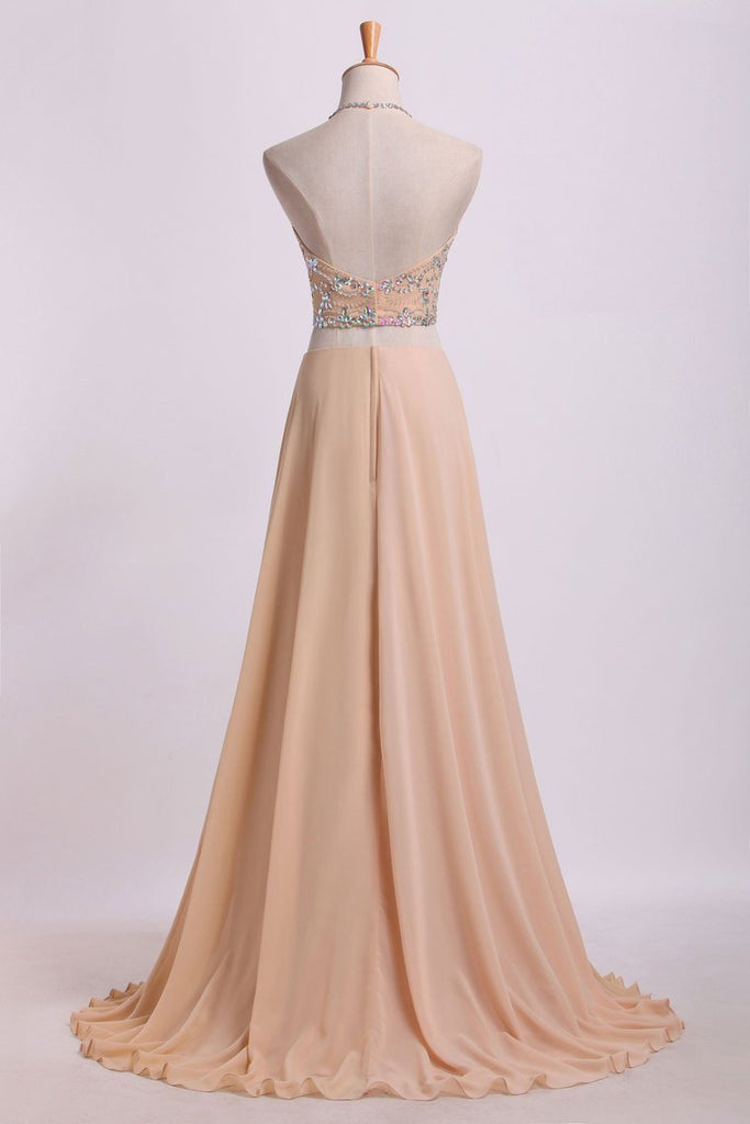 Sexy Prom Dresses Halter Two Pieces A Line With Flowing Chiffon Skirt