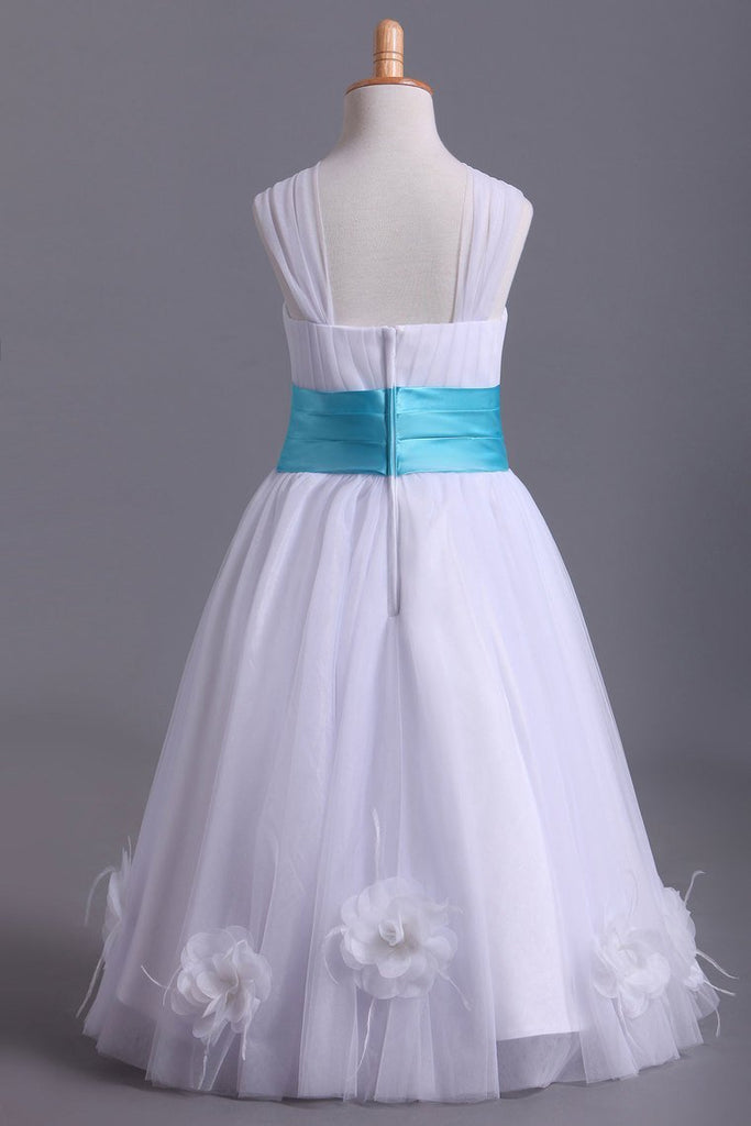 Hot Selling Flower Girl Dresses A Line Off The Shoulder Knee Length Tulle