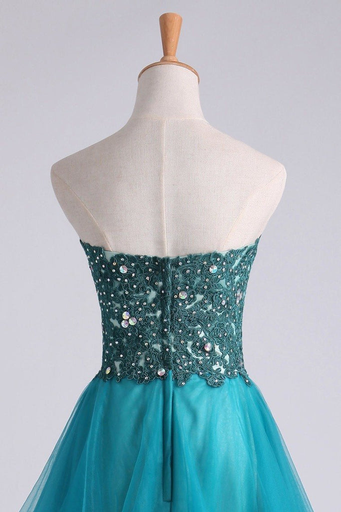 Homecoming Dress Sweetheart A Line With Applique And Beads