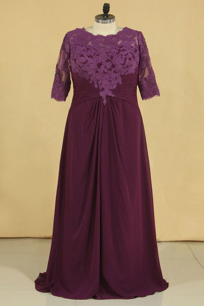 Plus Size Scoop V Back With Applique And Ruffles Chiffon Mother Of The Bride Dresses Grape