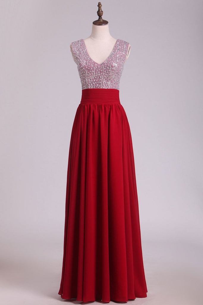 V Neck A Line Sequined Bodice Prom Dresses Chiffon Floor