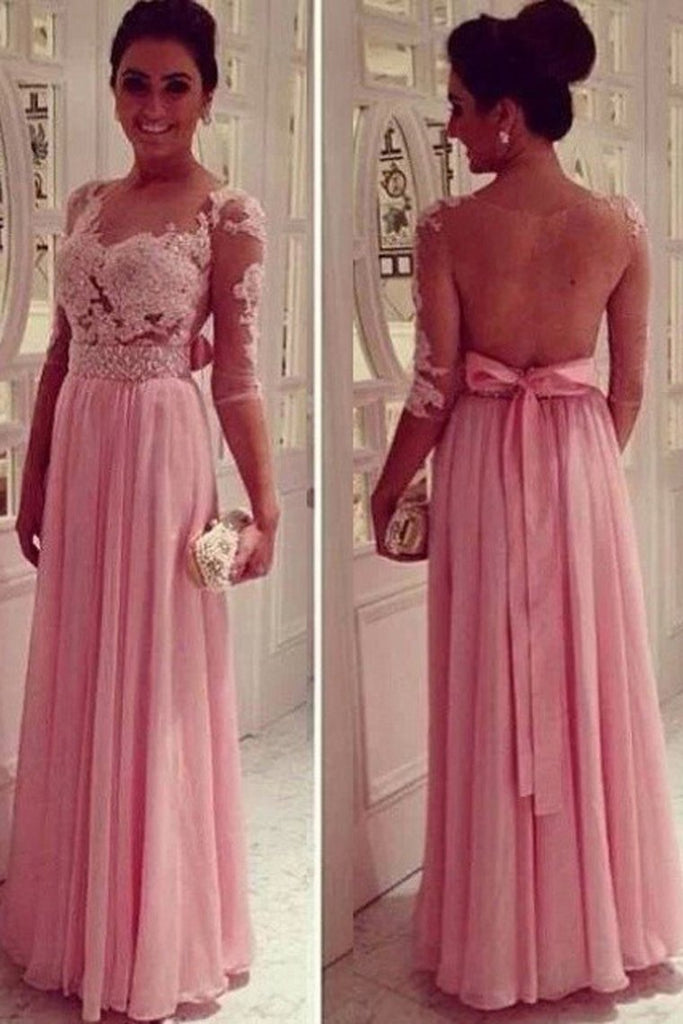 Mid-Length Sleeve A-Line Scoop Chiffon Prom Dresses Floor-Length With Applique And Bow-Knot