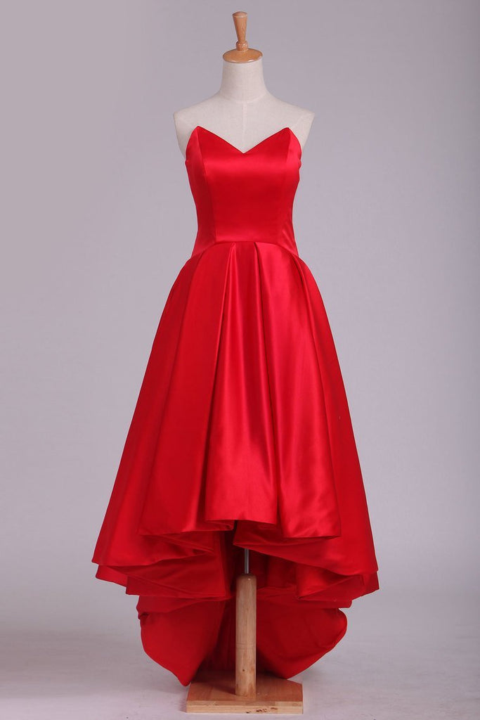Red Asymmetrical Prom Dresses V Neck Satin