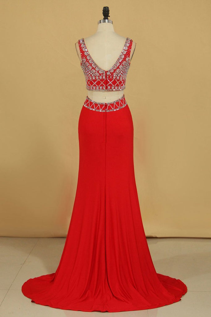 Two Pieces V Neck Prom Dresses Sheath Spandex With Beading Floor