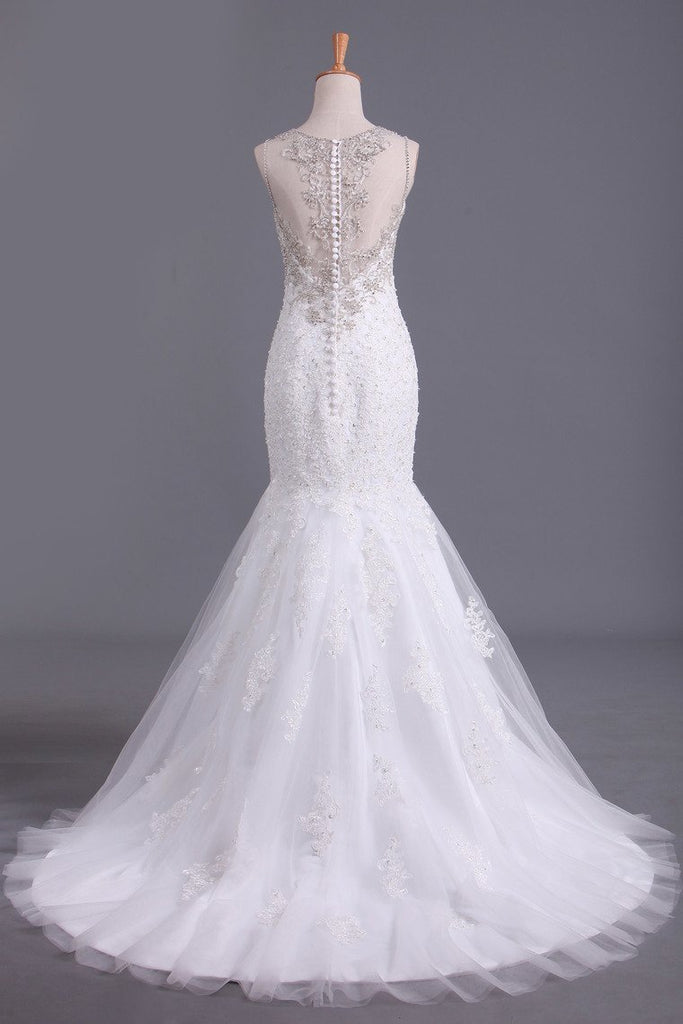 Scoop Wedding Dresses Mermaid/Trumpet Sweep Train Tulle With Applique And