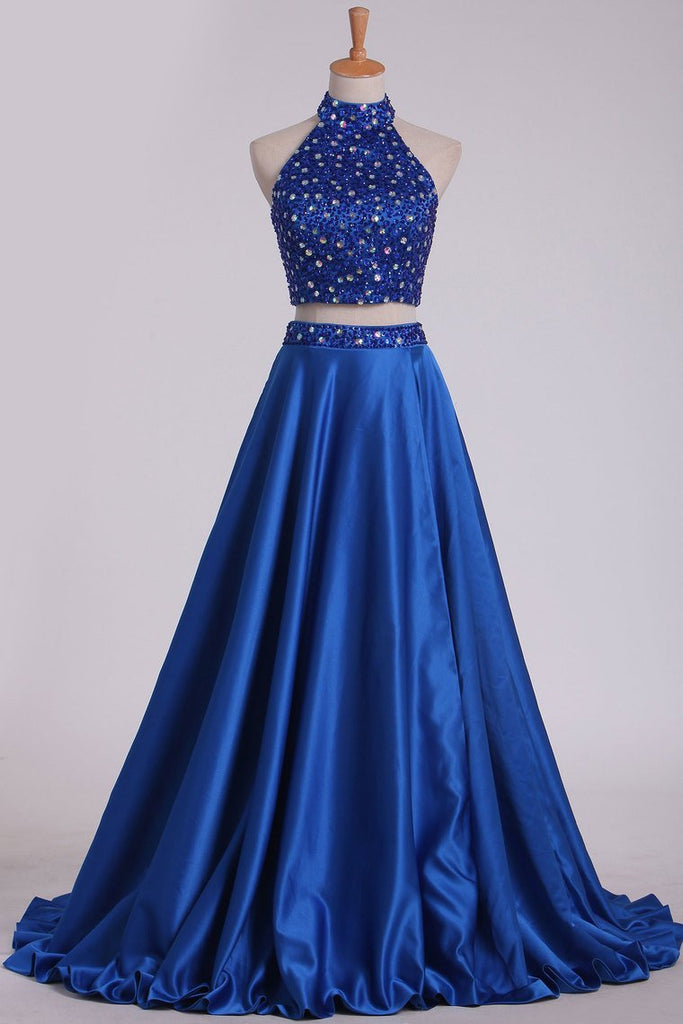 Two Pieces High Neck A Line Prom Dresses Beaded Bodice Satin Open