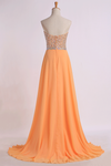 Prom Dresses Sweetheart A Line Sweep Train Chiffon With