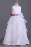 White Flower Girl Dresses Ball Gown Scoop Floor Length