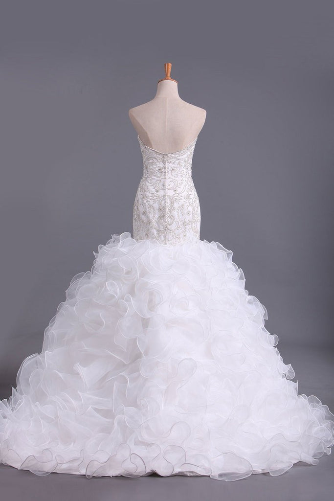 Sweetheart Wedding Dresses Mermaid Organza With Beads And