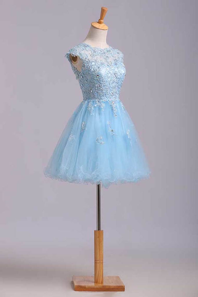 Scoop Short/Mini Prom Dress A Line Tulle Skirt Embellished Bodice With Beads And Applique Cap