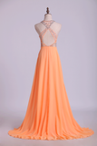 Halter A-Line Prom Dresses Tulle And Chiffon Sweep Train