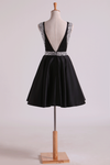 Bateau A Line Short/Mini Homecoming Dresses Satin With Beads