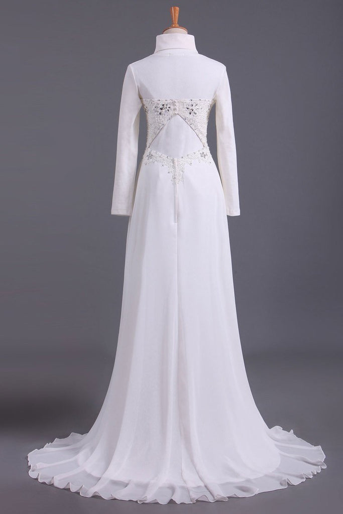 Musilim Wedding Dresses Empire Waist Sweetheart Chiffon With Beading&Sequince