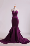 Notched Neckline Prom Dresses Satin Mermaid/Trumpet Grape