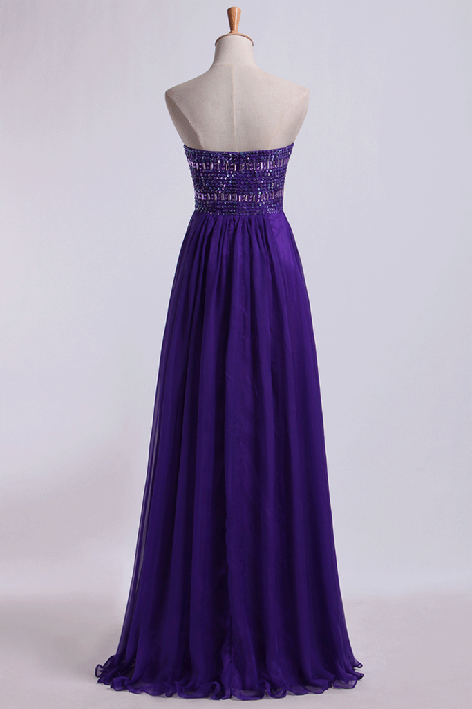 Sweetheart Empire Waist A-Line Prom Dress With Beads Floor-Length