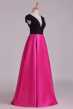 Evening Dress Open Back V-Neck Short Sleeve A-Line Satin Black Bodice Floor-Length