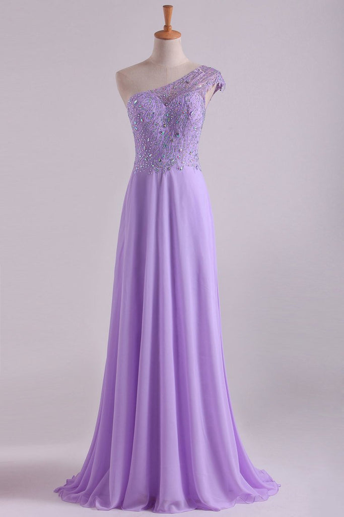 One Shoulder A Line Prom Dress Beaded Tulle And Chiffon Sweep Train