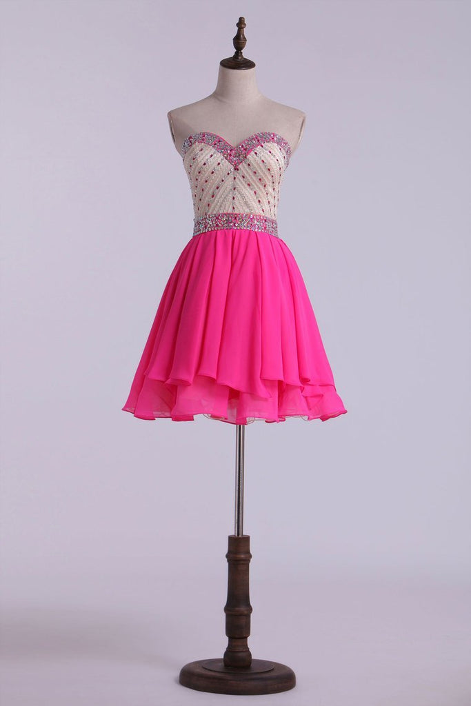 Sweetheart A Line Short Prom Dress With Layered Chiffon Skirt