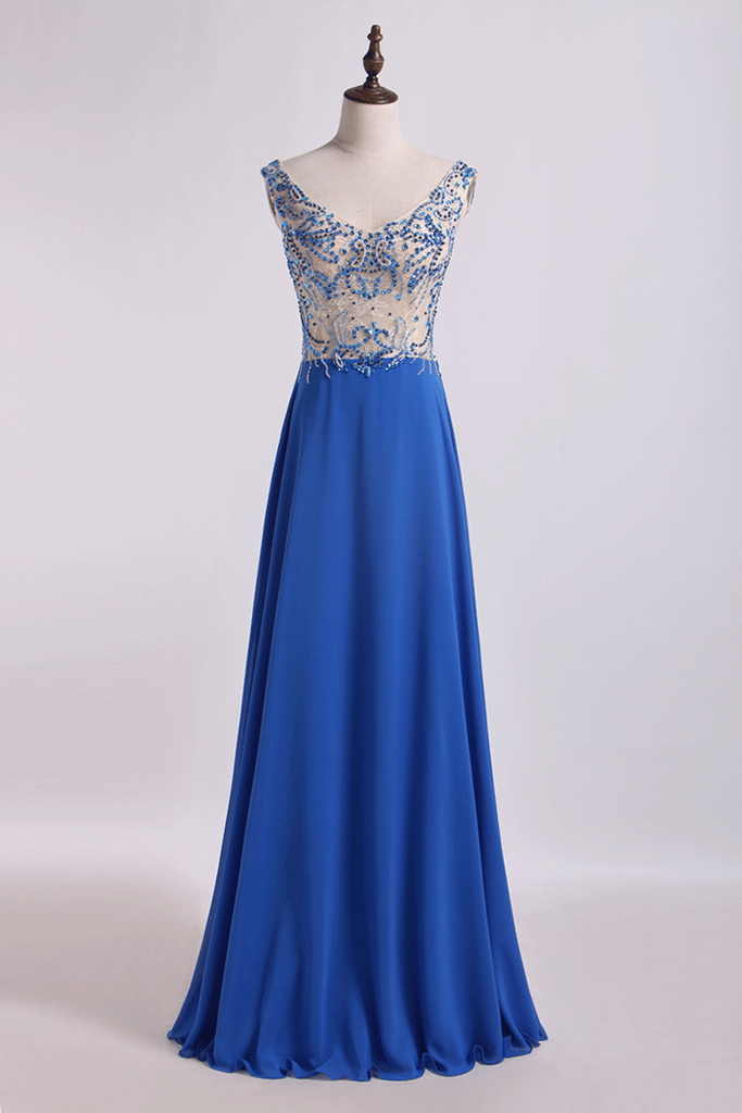 Bicolor Off The Shoulder Prom Dress Beaded Lace Bodice Chiffon Floor Length