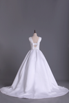 Scoop Sexy Back A Line Beaded Bodice Satin Wedding Dress Chapel