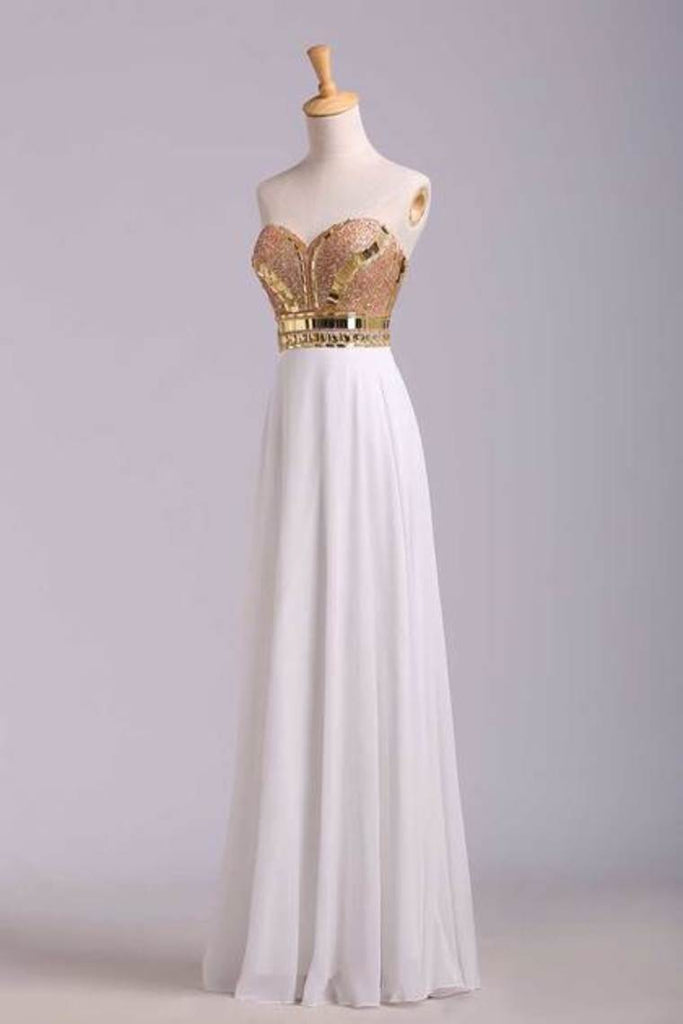 New Arrival Prom Dresses A-Line Sweetheart Floor-Length Beaded Bodice Chiffon