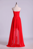 High Low Sweetheart A Line Pleated Bodice Flowing Chiffon Skirt