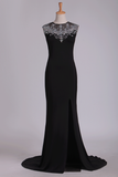 Spandex Scoop With Beads And Slit Open Back Sheath Prom Dresses Sweep