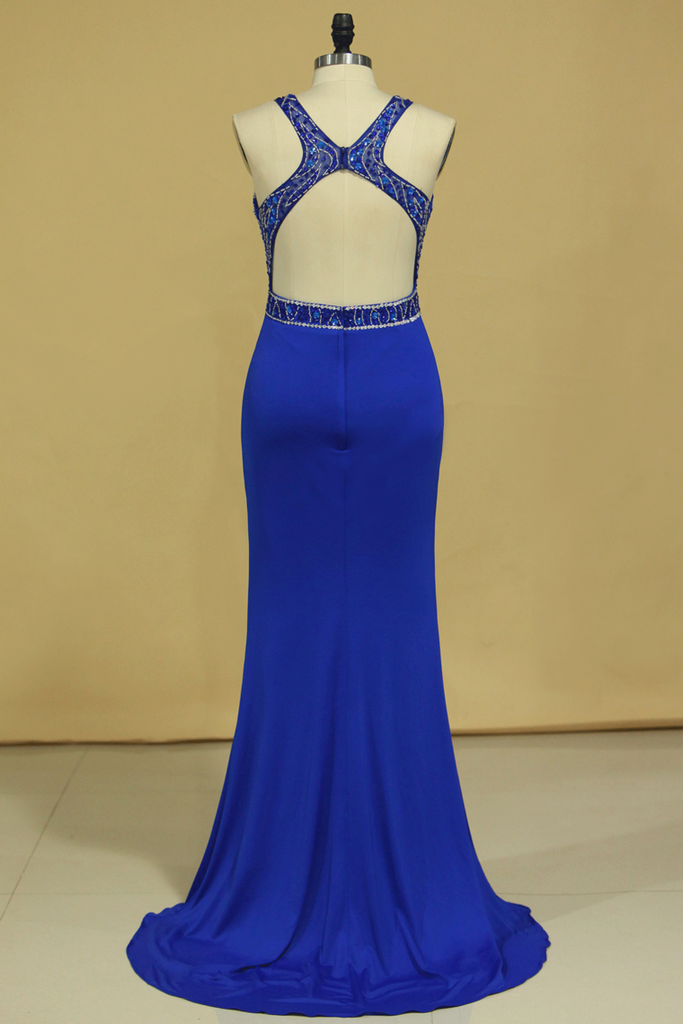 Dark Royal Blue Open Back Prom Dresses Scoop Spandex With Beading And Slit Sweep Train